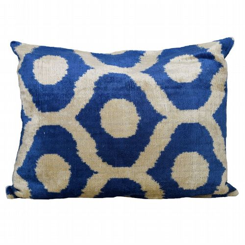 Turkish Silk Velvet Cushion - Blue & Stone
